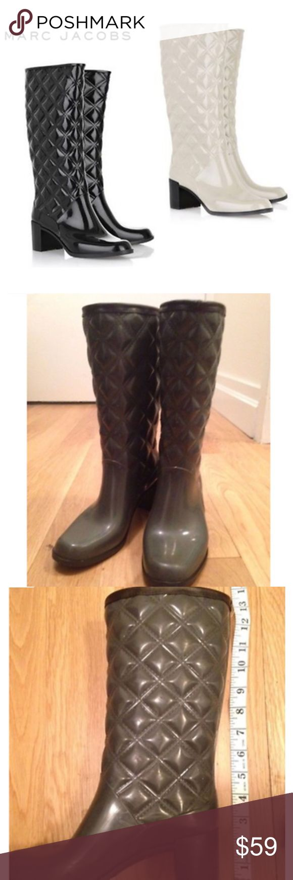 Marc Jacobs Quilted Heeled Wellington Gray Boots 5 Marc Jacobs Quilted Heeled Wellington Rain Boots  Grey  Sz 5, standard 35/5, on the Narrower side  Preowned, with original box, great condition. There's a scratch on the front of one boot. Heels have some wear from walking (see picture)  MSRP $295 Made in Italy  Heel height 2.5'', very slimming, cute and sexy  Amazing sleek quilted design with heel detail, all in all a fabulous and fashionable Wellington boot. Great for keeping you nice and…
