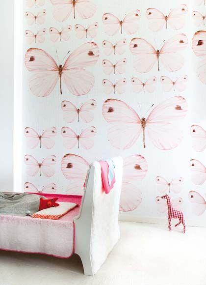 #wallpaper #butterfly #pastel #roze #behang #kinderkamer | Onszelf