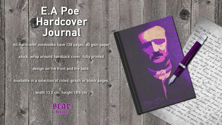 Edgar Allan Poe Hardcover Journal. #journal #diary #giftsforher #giftsforhim #artistjournal #writerjournal #notepad #PoeJournal #EdgarAllanPoe #PoeNotepad #writinggifts #sketch #sketchingnotebook #gothicnotebook #gothicjournal #gothicgifts