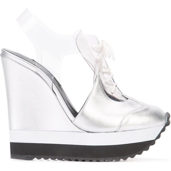 Ruthie Davis high-heeled sneakers (630 CAD) ❤ liked on Polyvore featuring shoes, sneakers, heels, grey, gray shoes, high heel sneakers, leather sneakers, high heeled footwear and grey shoes