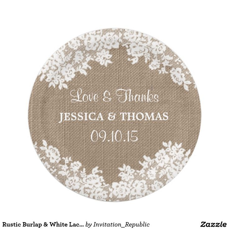 Rustic Burlap & White Lace Wedding Paper Plates 7 Inch Paper Plate designed by Invitation Republic ™