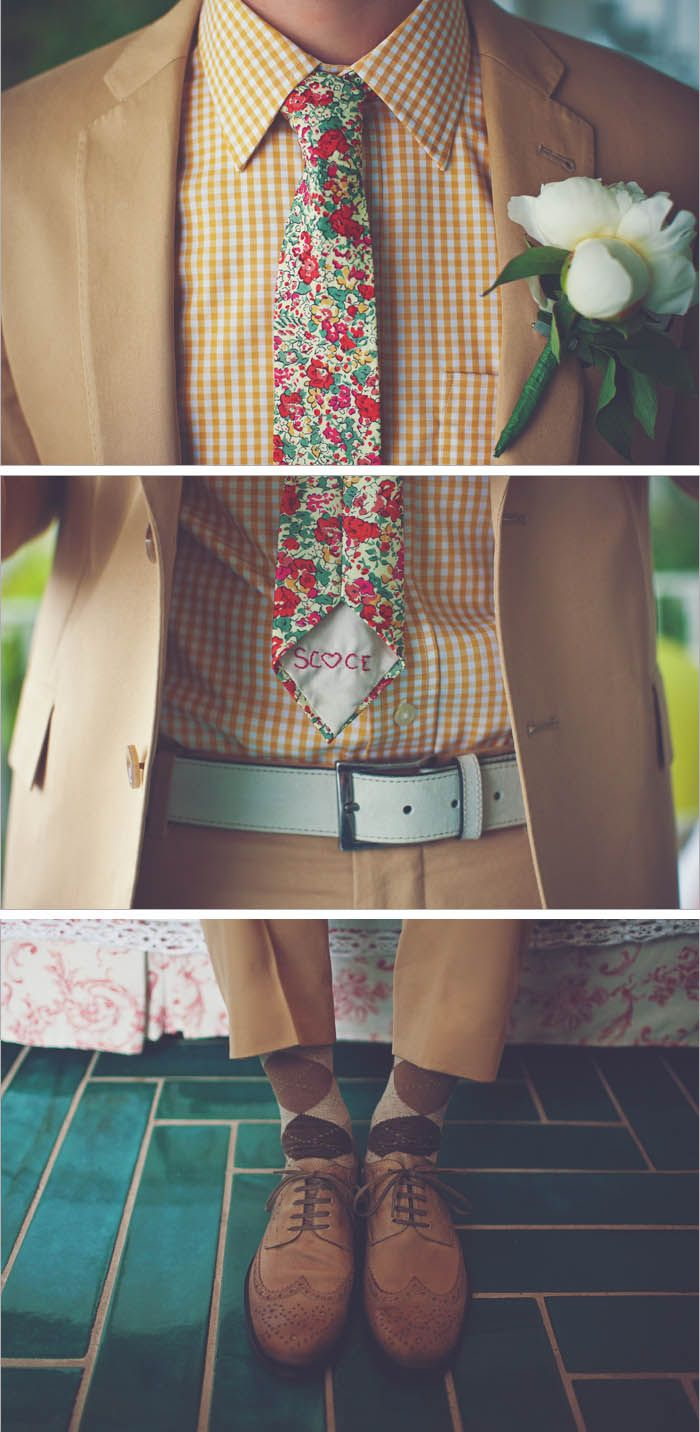 Indie groom style. I appreciate this, even if i'm not sure that i'd wear it myself. But any bold man who can pull this getup off gets my charming bearded smile in honest appreciation.