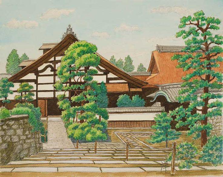 風景イラスト 水彩「京の四季」 一休寺_京田辺市