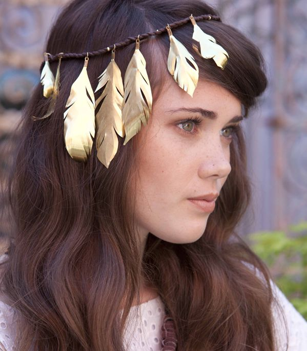 DIY: gilded feather headband