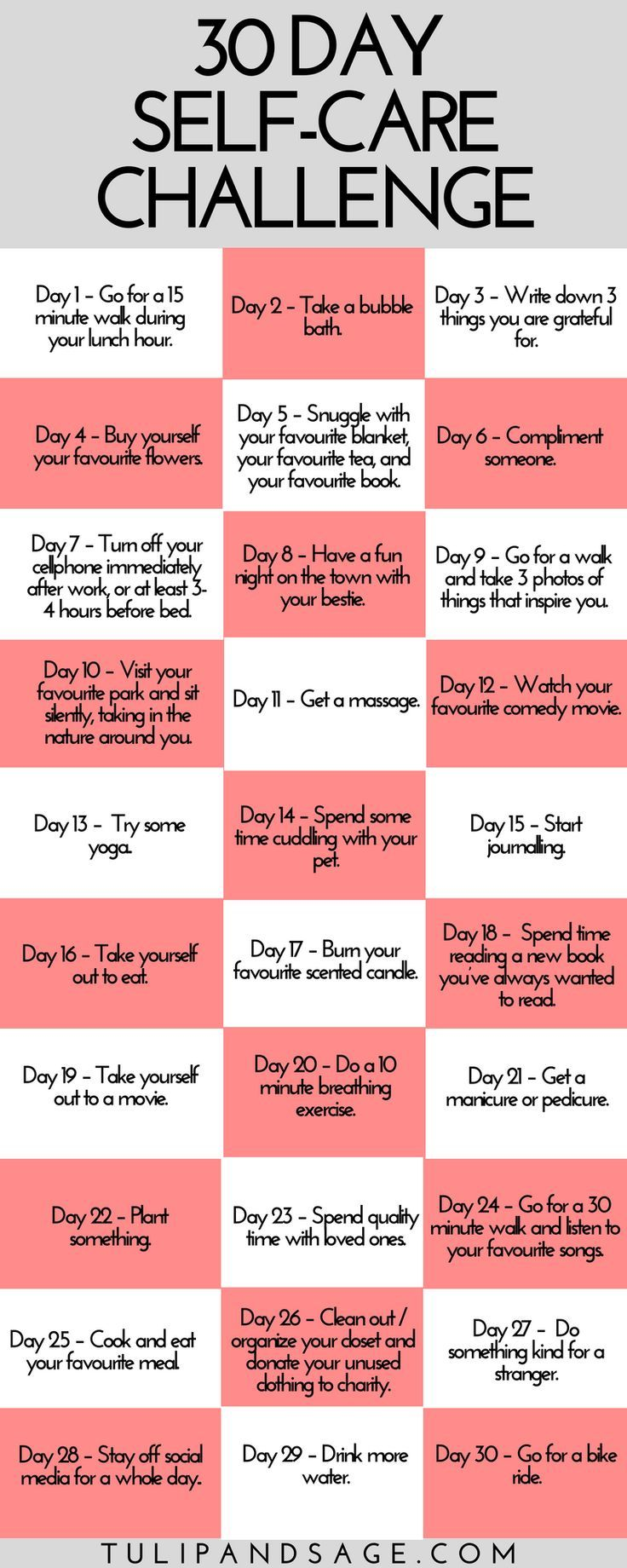 30 Day Self-Care Challenge (Free Printable) | Self-Care ...