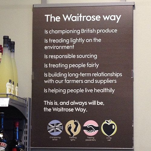#DT #ThinkDo 'The Waitrose Way' poster. What social responsibility commitments do companies make? How does this add brand value? |  Flickr - julieboydonline Visit www.julieboyd.co.uk & sign up for a free weekly D&T newsletter