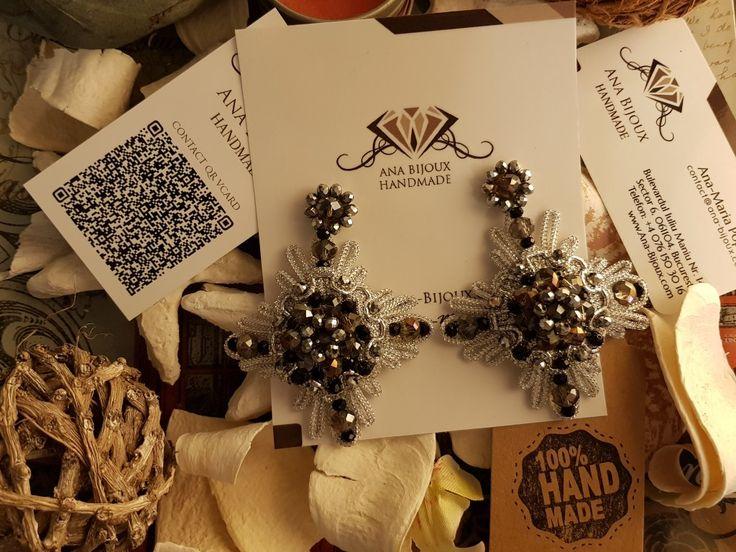 Cercei #ANA81960 - Cercei handmade unicat, broderie de margele, cristale fatetate, perle si tije din Argint 925.  - Ana Bijoux Handmade | Ana-Bijoux.com | Ana Bijoux Group