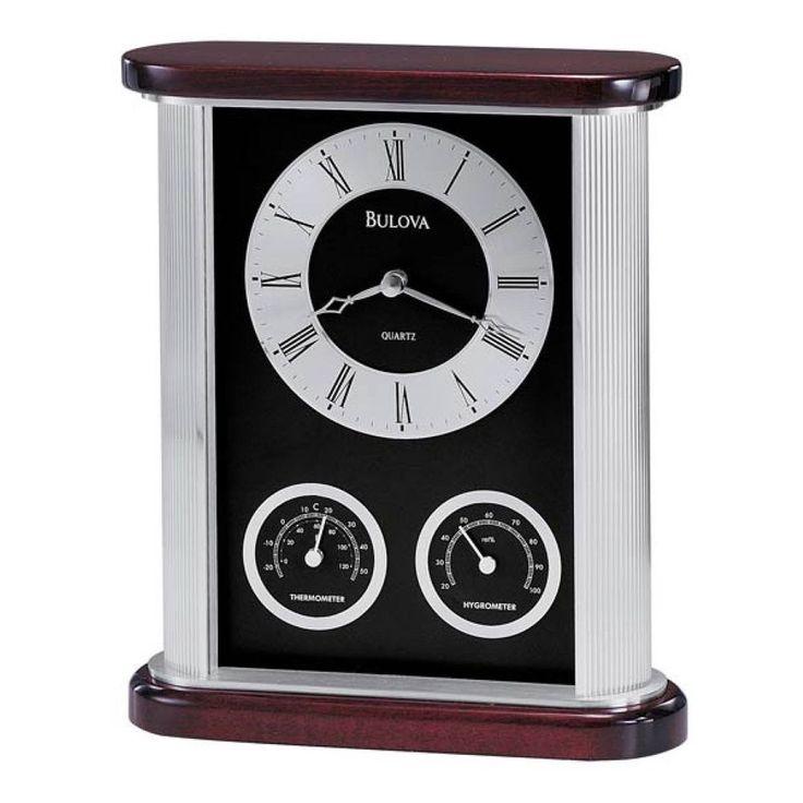 Modern Table Clock with Hygrometer Thermometer Desk Desktop Decoration #Bulova #Modern