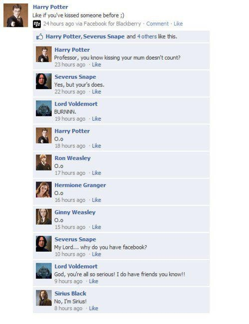 The Hogwarts gang on facebook