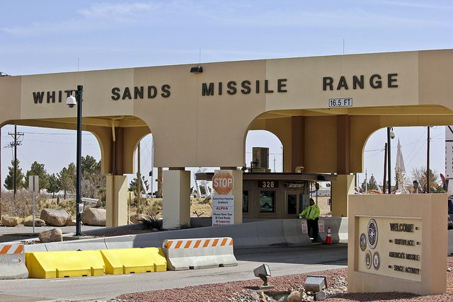 "White Sands Missile Range main gate. Photo taken on March 5, 2013 by Brian 104, noted by him as ""White Sands Missile Range"" at flickr."