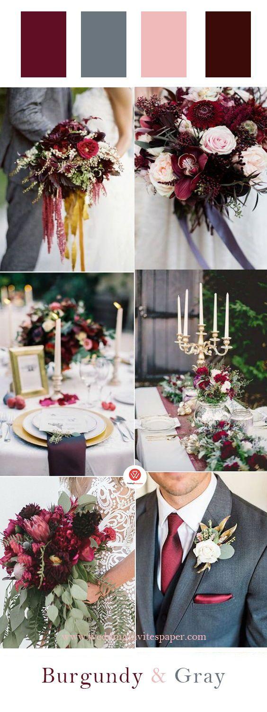 100+ Marsala/burgundy color combos for 2019 fall weddings
