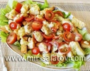Caesar salad with chicken...Salad recipe - in Russian - translation is kind of odd, but the salad is pretty!
