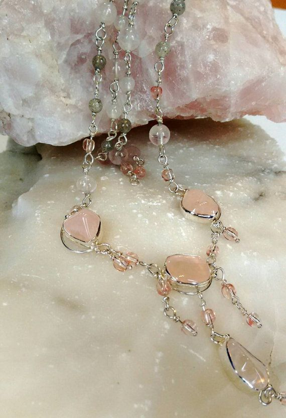 Hey, I found this really awesome Etsy listing at https://www.etsy.com/listing/203440300/rose-quarts-delicate-necklace