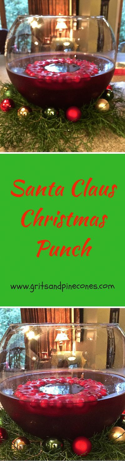 Santa Clause Christmas Punch is a festive, boozy, delicious, easy, make-ahead holiday punch that's perfect for celebrating the holidays! via @gritspinecones