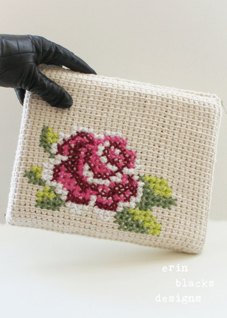DIY Tunisian Crochet PATTERN Cotton Rose Bloom Tablet by Midknits