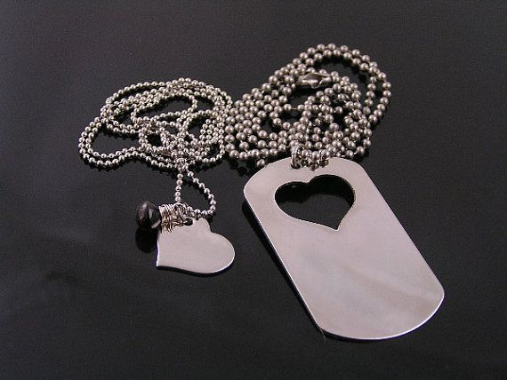 Matching Couple Necklace Dog Tag and Heart by WedunitJewels, $31.00
