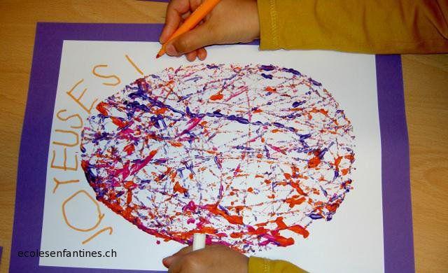 ecoles enfantines - Peinture avec des billes