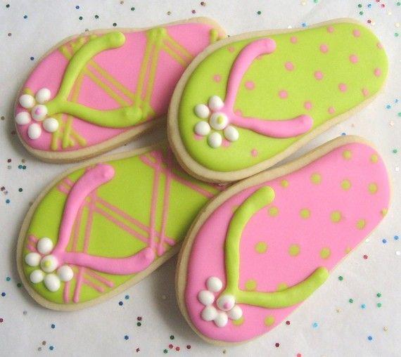 FLIP FLOP Cookie Favors  Flip Flop Decorated Cookies