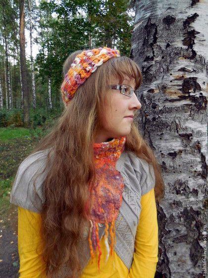 """""""Осень- подружка"""". Комплект - рыжий,комплект осенний,осенний снуд,вязаный снуд"""