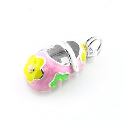 Miniature Pink Pastel Flower Petite Baby Shoe Charm Pendant