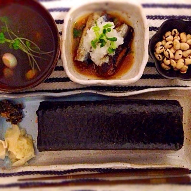 節分メモ - 10件のもぐもぐ - 丸かじり恵方巻、いわしみぞれ煮、手毬麩の吸い物 by nanananna