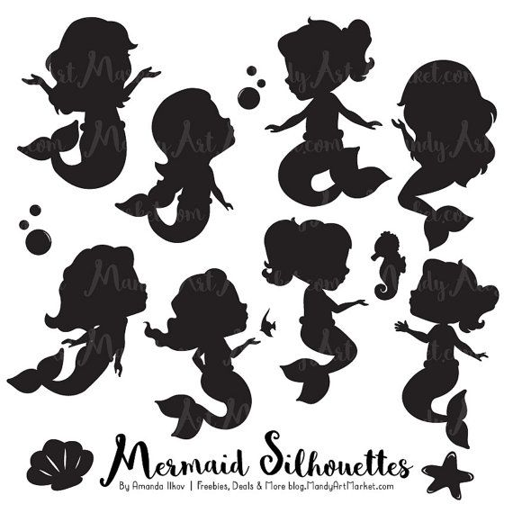 Cute Mermaid Silhouette Clipart  Mermaid by AmandaIlkov on Etsy