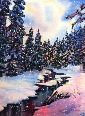 """Evening by the Creek by Artist Kendra Dixson    Winter evening by a creek.     Available in Prints and Art Cards:  8""""x10"""" Print  11""""x14"""" Print  16""""x20"""" Print     6 Pack Cards  20 Pack Cards  50 Pack Cards"""