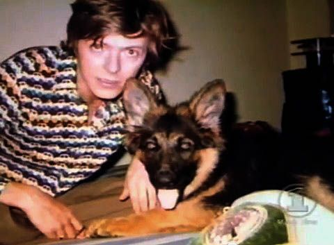Diamond Dogs! David Bowie with his German Shepherd in Berlin
