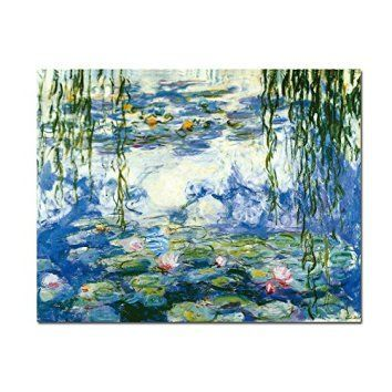 Wieco Art - Water Lilies by Claude Monet Oil Paintings Flowers Reproduction Extra Large Modern Gallery Wrapped Giclee Canvas Prints Artwork Landscape Pictures on Canvas Wall Art for Home Decorations