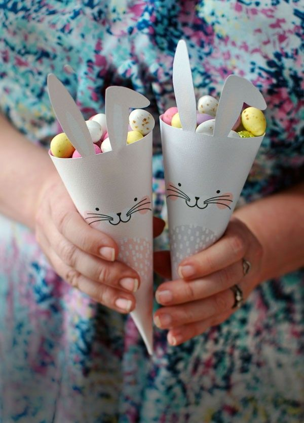 Free Easter Bunny Treat Cone Printables by We-Are-Scout.com. Great Easter craft ideas to do with the children.