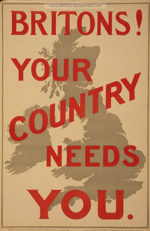 Britons! Your country needs you. LOC Summary: Poster showing map of British Isles behind text. LOC Notes: Poster no. 23. Date Created/Published: London : Parliamentary Recruiting Committee, 1914 | British WW1 Propaganda Poster