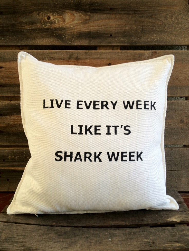 Shark Week Throw Pillow. $32.00, via Etsy...NEED this to keep the addiction going all year long