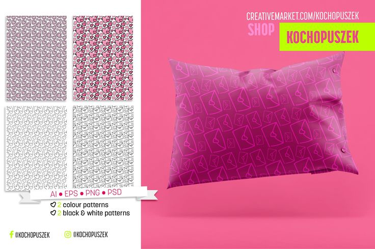 Cute set for Valentine's Day by Kochopuszek on @creativemarket