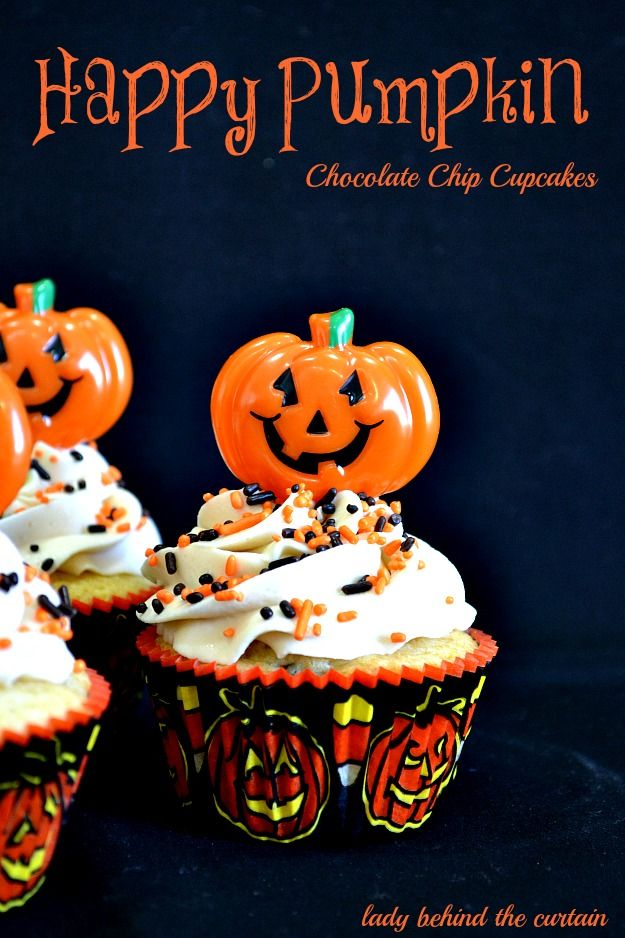 Happy Pumpkin Chocolate Chip Cupcakes Recipe ~ with a delicious caramel frosting... Perfect for a bake sale, cake walk, Halloween party or school class party.