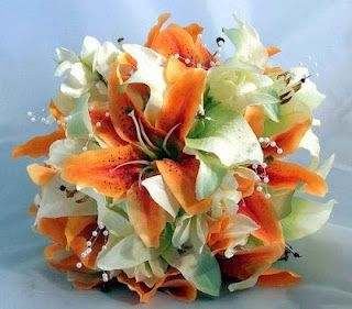 White and orange tiger lily bouquet for me. This is almost exactly like my bouquet was!! Love it!!