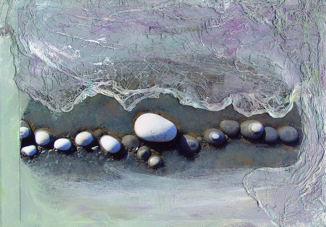 """Pebbles 1"" by Julie Shackson... love the gauze in this mixed media wonder"