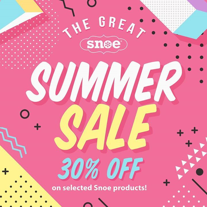 Beat the summer heat at the Great SNOE Summer Sale with up to 30% OFF on your favorite Snoe Beauty summer must-haves. Head on to the nearest store to you from April 27 - May 1 2017!  Participating branches: The District Ayala Mall Imus Festival Mall SM City Santa Rosa SM Southmall SM City North Edsa SM Hypermarket Pasig Greenhills Shopping Center SM City San Lazaro SM City Manila Market Market Robinsons Galleria Forum Robinsons Sta. Lucia Mall SM Megamall Mandaluyong City Robinsons Place…