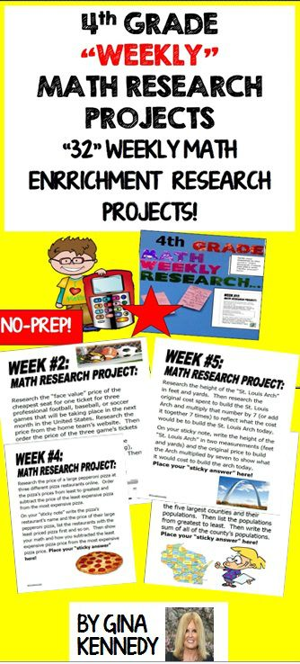 "4TH GRADE MATH ENRICHMENT RESEARCH PROJECTS FOR THE ENTIRE YEAR FOR EARLY FINISHERS AND ADVANCED LEARNERS! A SIMPLE WAY TO ADD CHALLENGE AND RIGOR WITH LITTLE TEACHER PREP! AN EXCELLENT WAY TO PROMOTE TECHNOLOGY IN THE CLASSROOM! Adding enrichment to your classroom should not have to be time consuming and difficult to manage. This program is easy to manage and extremely rewarding for your students. I began using the weekly ""Math Research Projects"" strategy ...$"