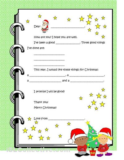 Dear santa letter template for kindergarten letter to for Dear santa template kindergarten letter