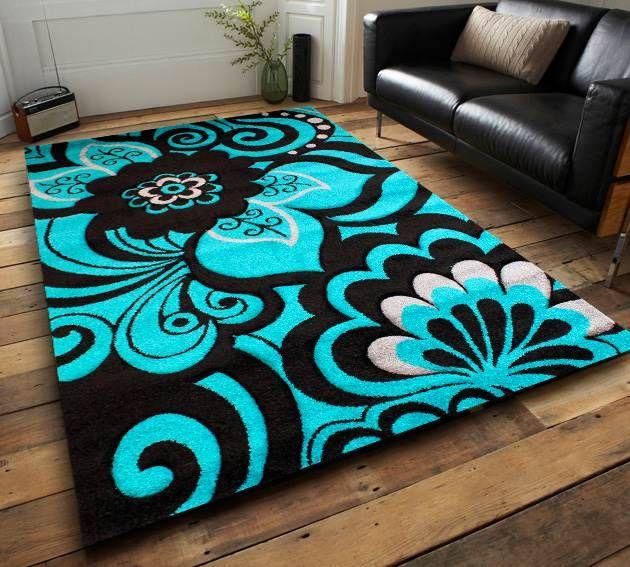 Black and Tiffany blue rug