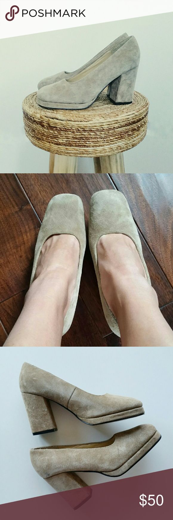 """Colin Stuart Tan Suede Block Heel Pumps Colin Stuart Suede Block Heel Pumps  *Size 7.5 *Tan colored genuine suede *3.25"""" heels *Chunky block heel / stacked heel *In great pre-loved condition with mild normal signs of wear  *No trade Colin Stuart Shoes Heels"""