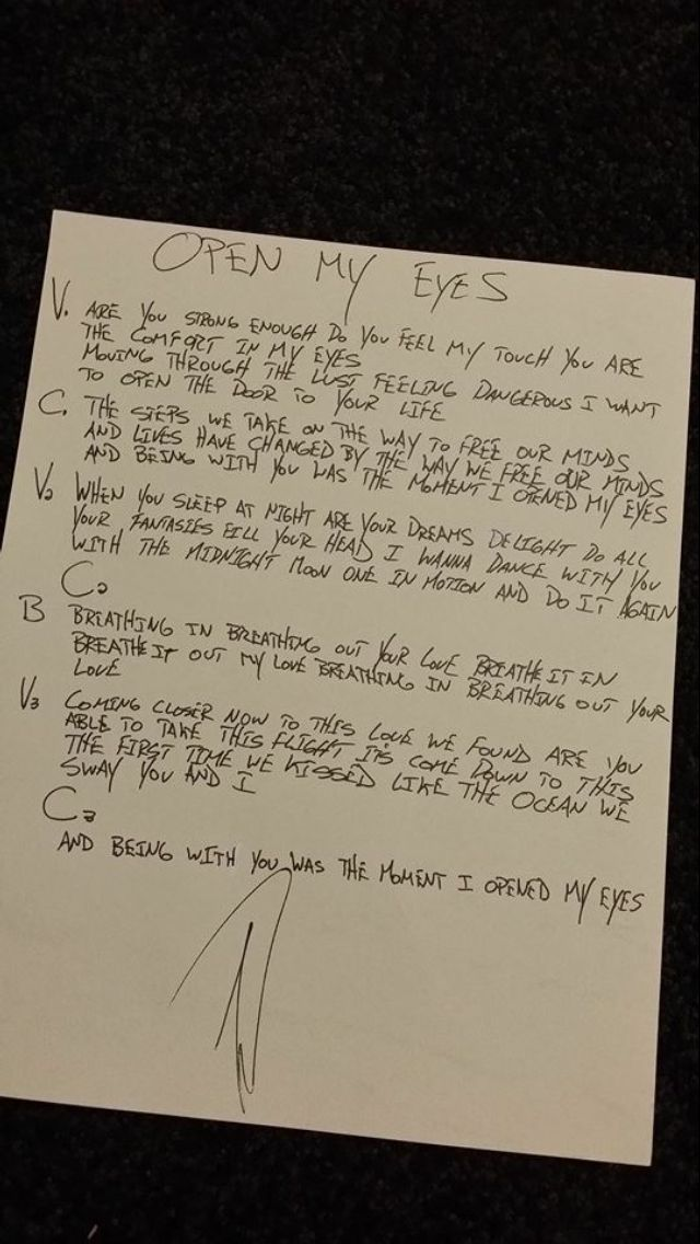 Hand written lyrics for open my eyes . *was our unity song ❤️ I have loved this song since the first time I heard it!