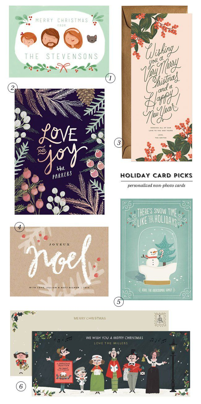 Holiday Card Picks : Personalized Non-Photo Cards Like the saying on snow globe one for next year's card