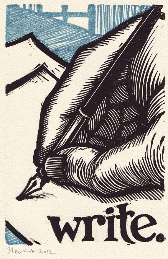 """Write"" / a nourishing image meant to inspire that kind of feeling you get when you finally write a real letter on paper to that person you've been meaning to write to for so long - from a series of linocut block prints 2012 - Peter Nevins, U.S.A."