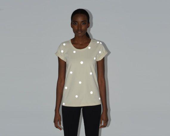 Reflective Polka Dot Custom Tee | Neutral Reflector Top | Tone on Tone Dot Blouse Shirt T-shirt
