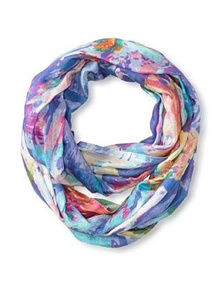68% OFF Saachi Women's Watercolor Digital Print Infinity Scarf, Orchid/Aquamarine