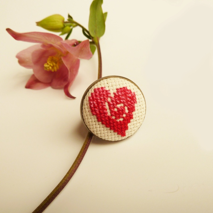 Embroidered Heart Ring - adjustable, hand cross stitched in pink and red, via Etsy.