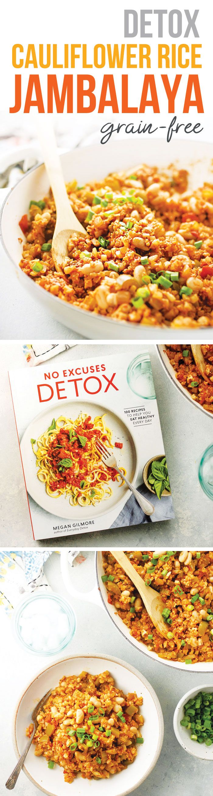 This Detox Cauliflower Rice Jambalaya is a healthy and flavorful vegetarian skillet meal! Perfect for those on a grain-free and dairy-free diet. It's vegan as written, but can also be modified to be paleo friendly. Recipe from the cookbook, No Excuses Detox.