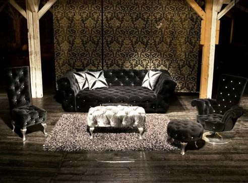 MARILYN Collection Black Velvet Chesterfield Sofa Lounge