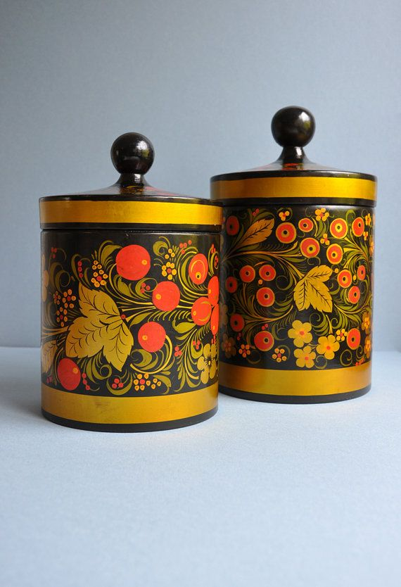 S A L E . . . . . Large Russian Khokhloma Lacquered Canisters - USSR